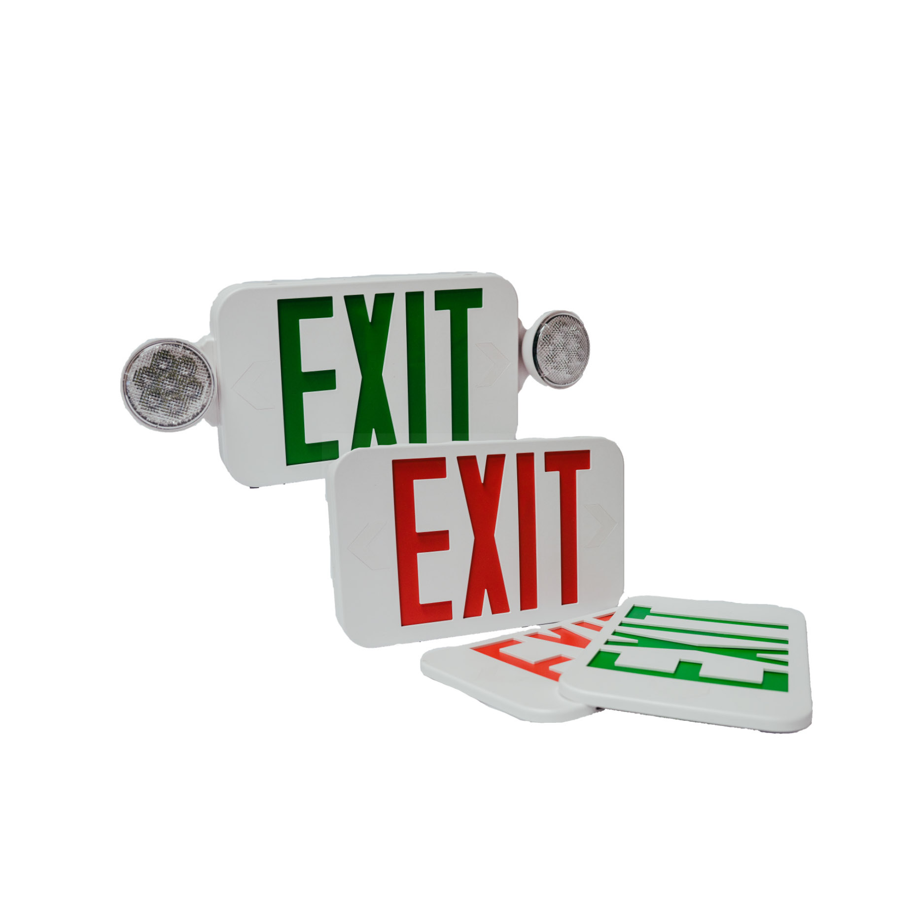 Dual Color Micro LED Exit Sign / Emergency Light Combo